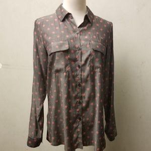 Express polka dot button down shirt (E7)